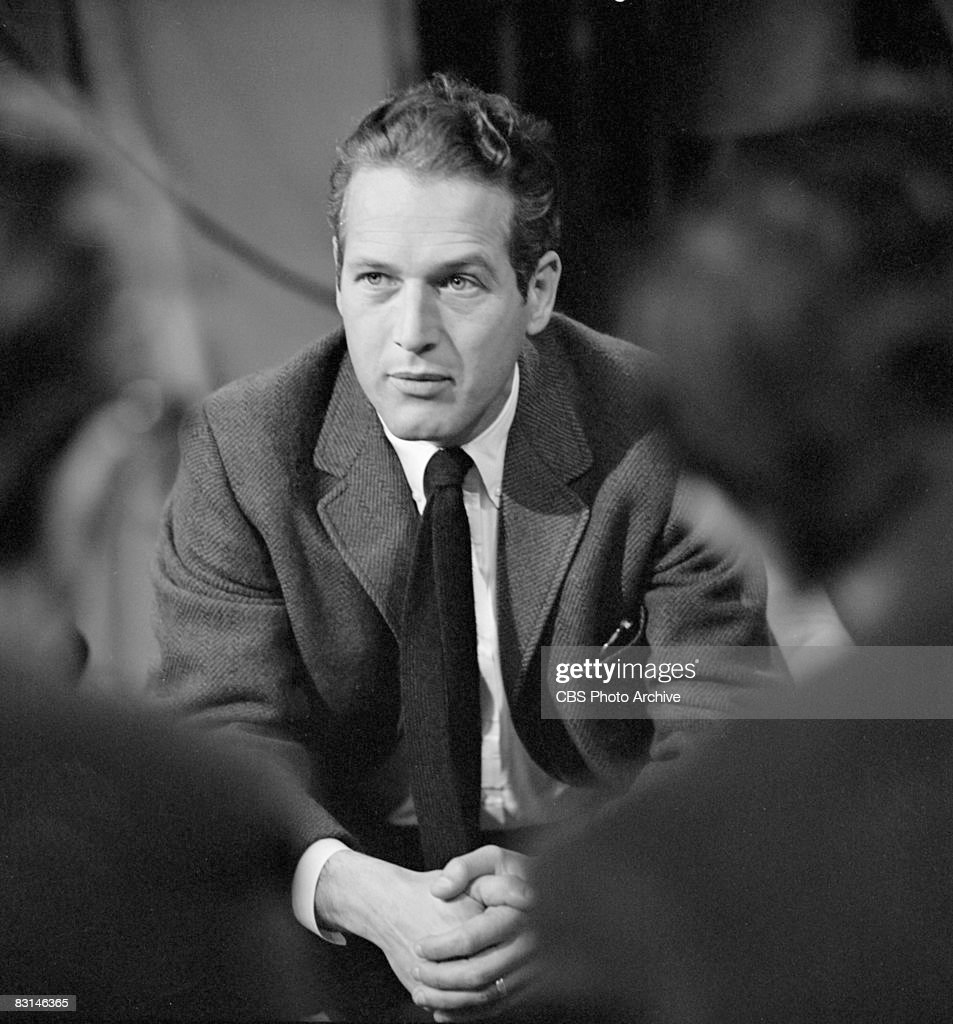 American actor Paul Newman (1925 - 2008) sits with hands folded on the set of Sunday morning arts program 'Camera Three,' May 7, 1963.