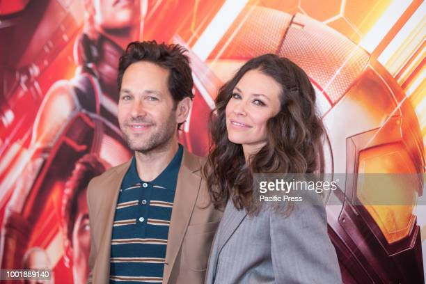 American actor Paul Rudd and Canadian actress Evangeline Lilly during the photocall at the Hotel De Russie in Rome of the film 'AntMan and the Wasp'...