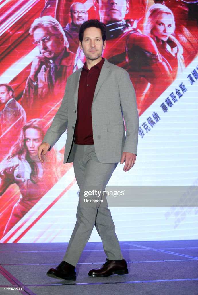 American actor Paul Rudd attends a press conference of director Peyton Reed's movie 'Ant-Man and the Wasp' on June 12, 2018 in Taipei, Taiwan of China.