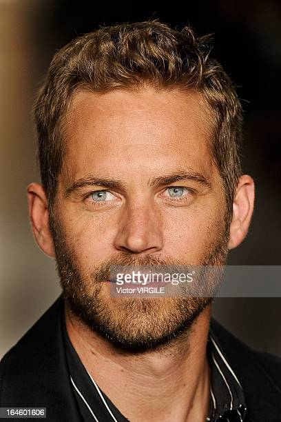 American actor Paul Walker walks the runway during the Colcci show during Sao Paulo Fashion Week Spring Summer 2013/2014 on March 21 2013 in Sao...