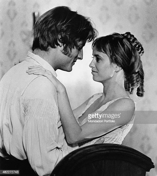 American actor Perry King hugging American actress Susan George during their wedding night in the film Mandingo 1975