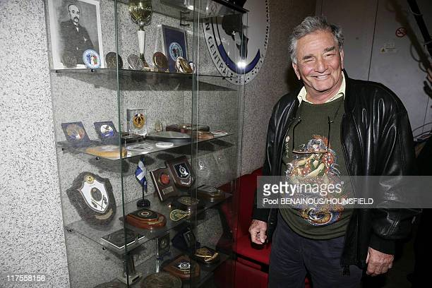 American actor Peter Falk best known for his role as Lieutenant Columbo in the television series Columbo poses for a photograph suring a visit to...