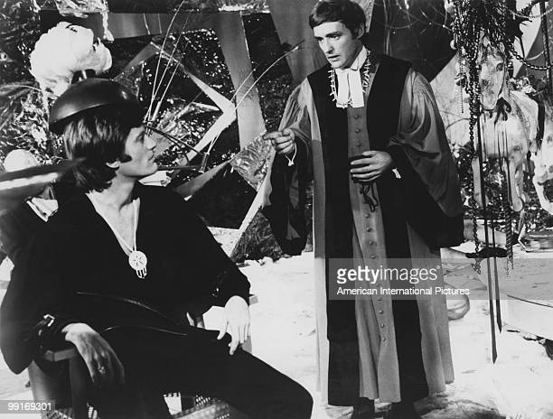 American actor Peter Fonda and Dennis Hopper in a scene from 'The Trip' California USA 1966 The film was written by Jack Nicholson directed by Roger...