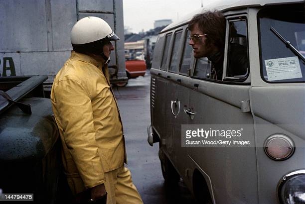 American actor Peter Fonda leans out the window of VW minibus during the filming of 'Easy Rider' New Orleans Louisiana 1968