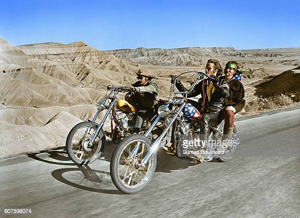 American actor Peter Fonda with actor director and screenwriter Dennis Hopper on the set of his movie Easy Rider