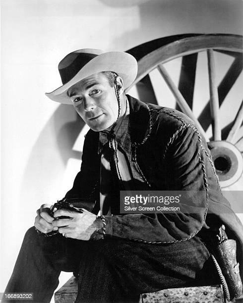 American actor Randolph Scott in a western outfit circa 1935