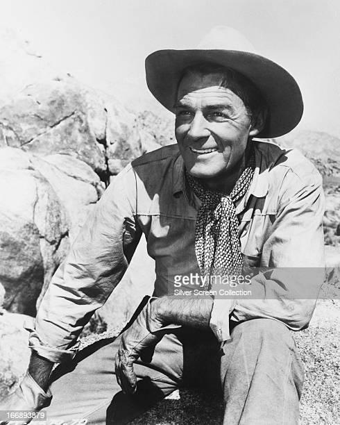 American actor Randolph Scott in a western role circa 1955