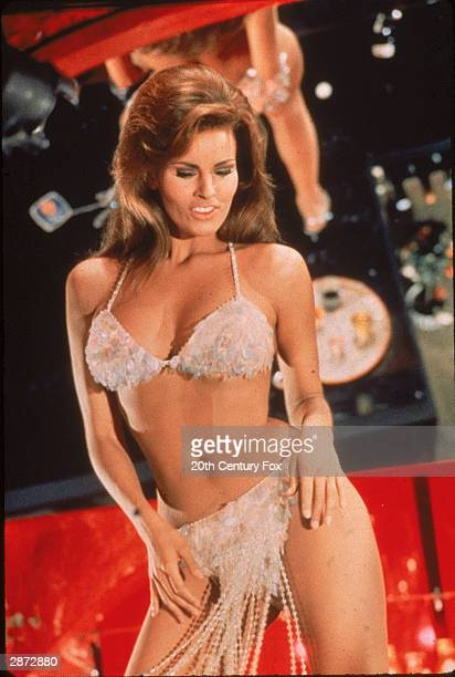 American actor Raquel Welch dances in her role as 'Lilian Lust' in a still from the film 'Bedazzled' directed by Stanley Donen 1967