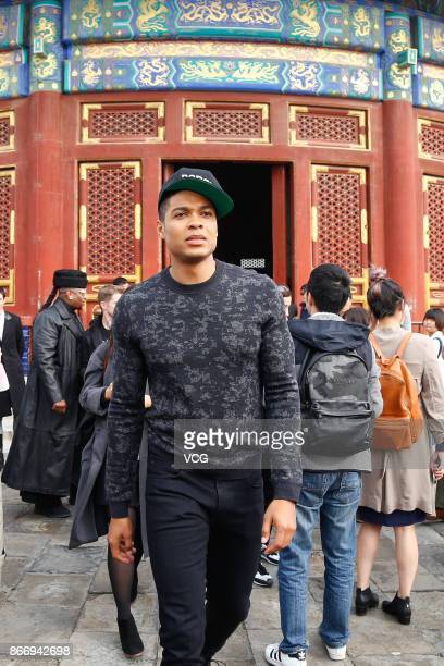 American actor Ray Fisher visits the Temple of Heaven on October 27 2017 in Beijing China