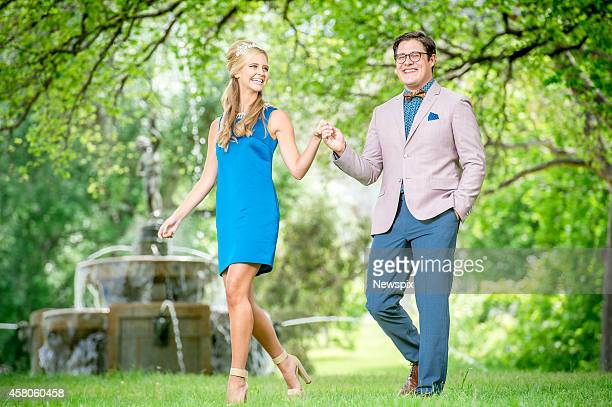 American actor Rich Sommer poses with model Saasha Burns at the King's Domain Gardens on October 29 2014 in Melbourne Victoria ahead of his...