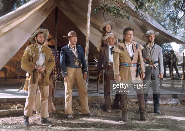 American actor Richard Boone and others appear in a scene from their film 'The Alamo' Brackettville Texas 1960
