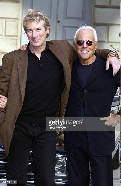 American actor Richard Gere and Italian designer Giorgio Armani attend the Giorgio Armani Retrospective at the Royal Academy posing with the Mercedes...