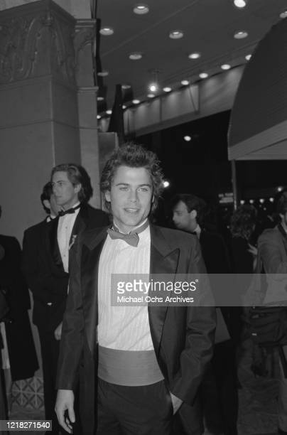 American actor Rob Lowe at the premiere of the film 'Rocky IV' at the Westwood Village Theatre in Los Angeles, California, 21st November 1985.