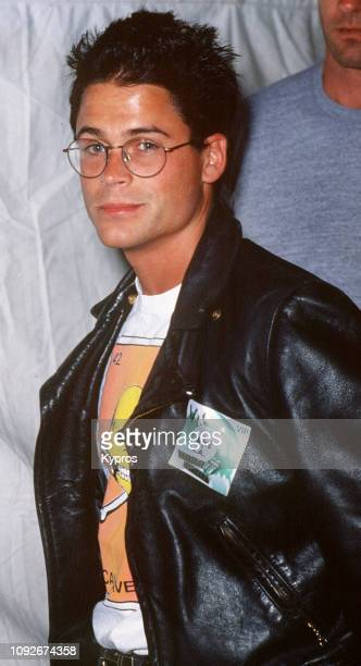 American actor Rob Lowe attends the Rolling Stones Steel Wheels concert at the Los Angeles Memorial Coliseum in Los Angeles as a VIP 18th October 1989