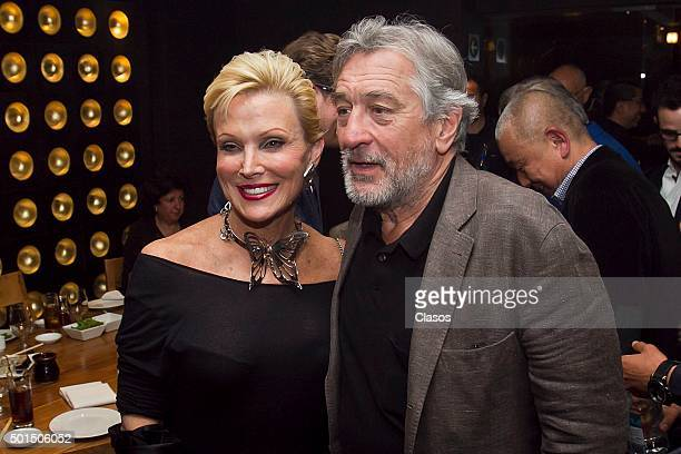 American actor Robert De Niro and Raquel Bessudo pose for pictures during the inauguration of the oriental restaurant Nobu Polanco on December 09...