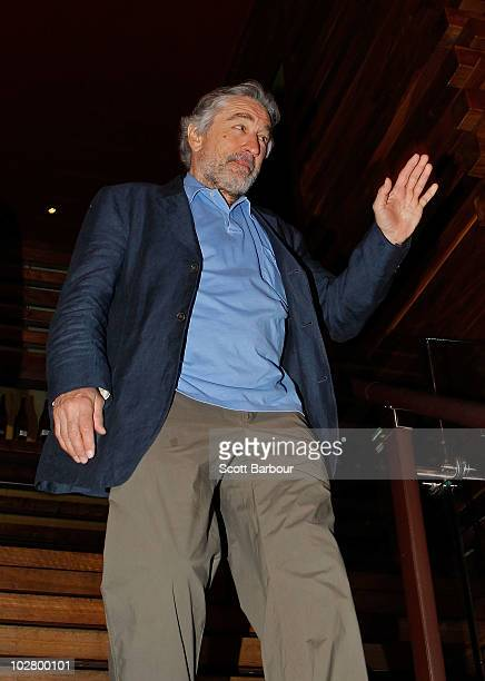 American actor Robert De Niro gestures as he arrives for a media appearance at Nobu Restaurant on July 11 2010 in Melbourne Australia De Niro who...