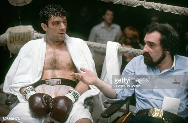 American actor Robert de Niro with director Martin Scorsese on the set of his movie Raging Bull, based on the book by Jake LeMotta.