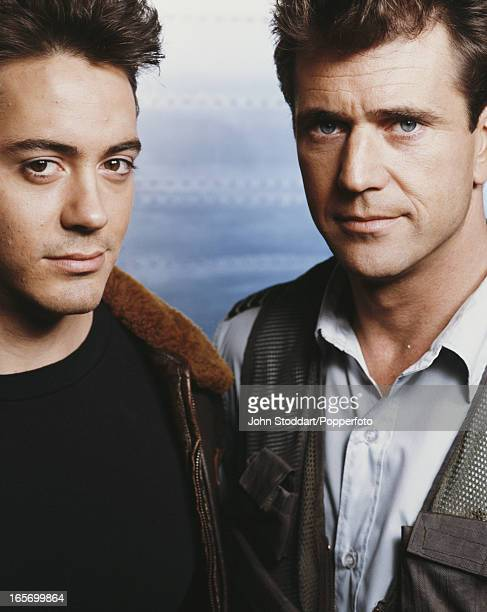 American actor Robert Downey Jr with Mel Gibson his costar in the film 'Air America' 1990
