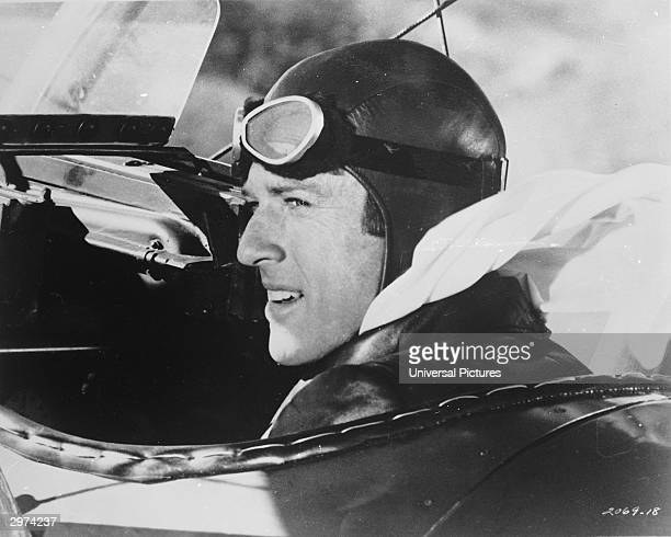 American actor Robert Redford sits in the cockpit of a biplane in a scene from 'The Great Waldo Pepper' directed by George Roy Hill 1975