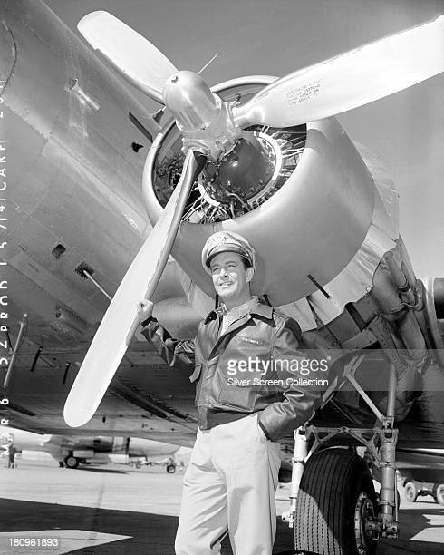 American actor Robert Taylor as bomber pilot Paul W Tibbets Jnr in 'Above And Beyond' directed by Melvin Frank and Norman Panama 1952 Tibbets was the...