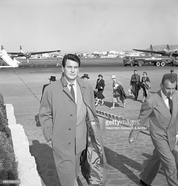 American actor Rock Hudson arriving at Ciampino Airport Rome 11th March 1957