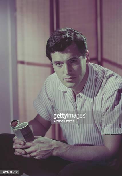 American actor Rock Hudson wearing a shortsleeved shirt circa 1955