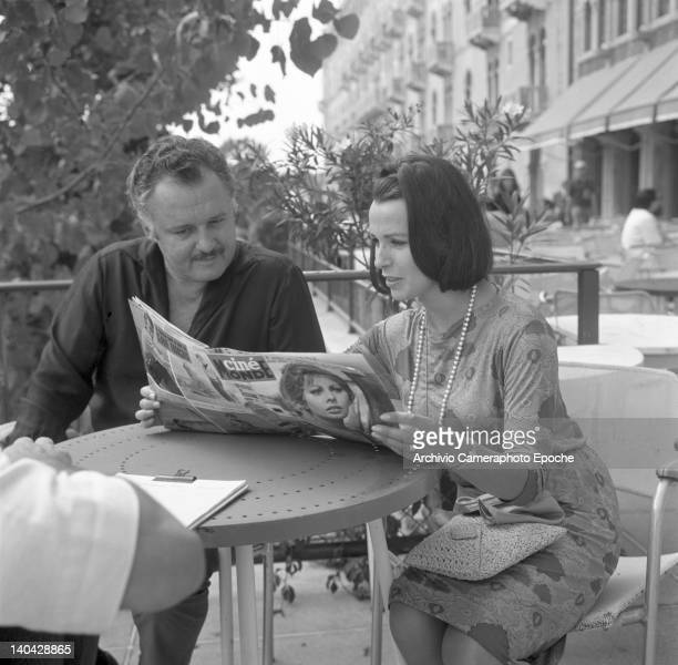 American actor Rod Steiger with Claire Bloom portrayed during an interview Lido Venice 1960s