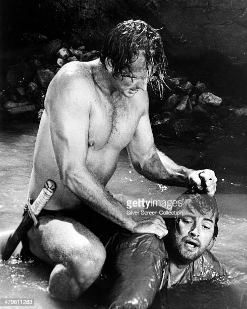 American actor Ron Ely plays the title role in a fight scene from an episode of the US TV series 'Tarzan' circa 1967