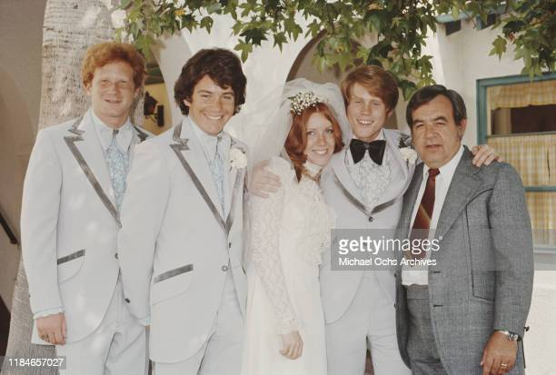 American actor Ron Howard marries Cheryl Alley at the Magnolia Park United Methodist Church in Burbank, California, 7th June 1975. From left to...