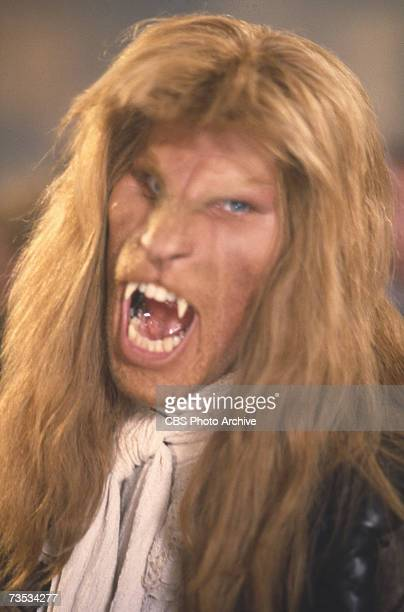 American actor Ron Perlman bares his fangs in an episode of the television series 'Beauty and the Beast' entitled 'Dead of Winter' December 9 1988