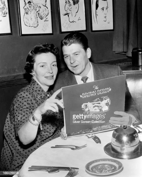American actor Ronald Reagan with his second wife actress Nancy Davis at a Brown Derby restaurant Los Angeles California circa 1955