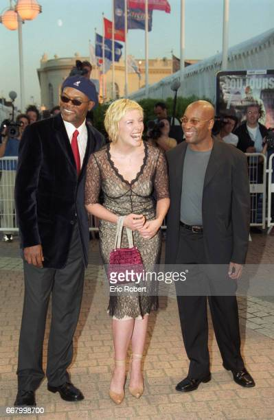 American actor Samuel L. Jackson poses with Australian actress Toni Collette and American director John Singleton at the premiere of their movie...