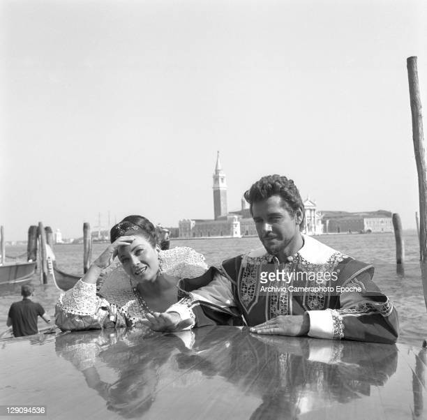 American actor Scott Gordon with italian actress Gianna Maria Canale, Venice, 1963.