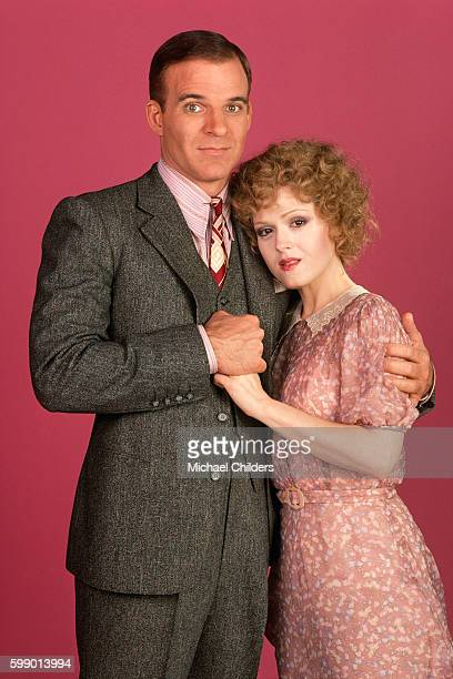 American actor, screenwriter and producer Steve Martin and actress Bernadette Peters on the set of the musical Pennies from Heaven, by director and producer Herbert Ross.