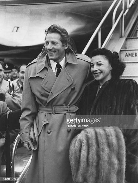 American actor singer and comedian Danny Kaye arrives with his wife Sylvia Fine for an appearance in London November 1948