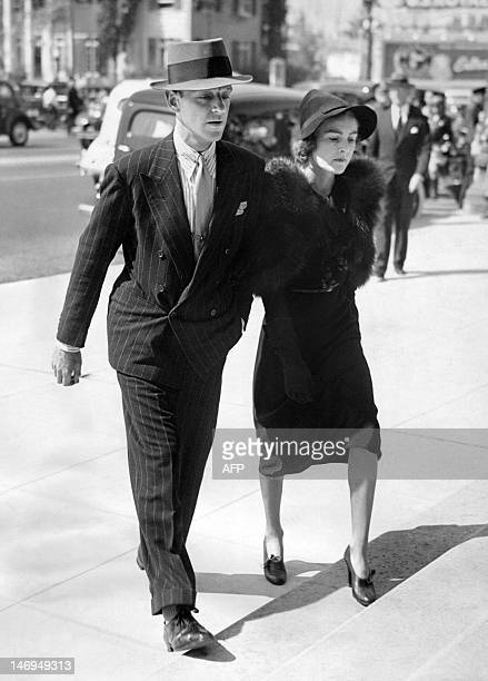 American actor singer and dancer Fred Astaire and his wife Phyllis Livingston Potter go to funeral services for Irving Thalberg husband of Norma...
