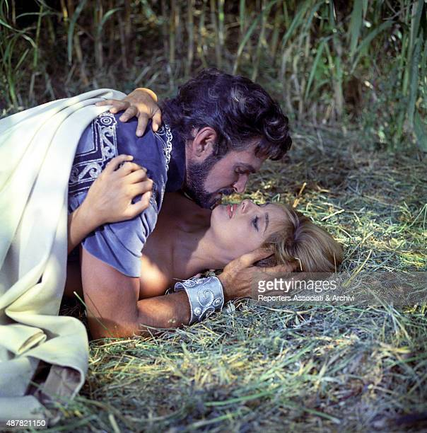 American actor Stanley Baker acting with Italian actress Rossella Podest on the set of Sodom and Gomorrah Italy 1961