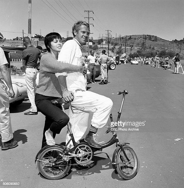 American actor Steve McQueen and his wife Neile Adams at Del Mar raceway San Diego California Image dated September 19 1959