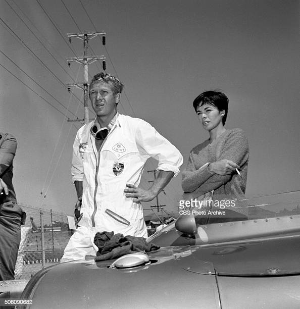 American actor Steve McQueen and his wife Neile Adams with his 1959 Lotus Eleven racing car at Del Mar raceway San Diego California Image dated...