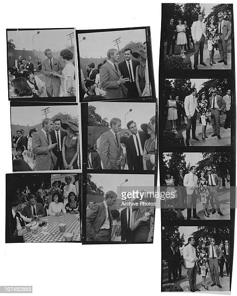 American actor Steve McQueen attends a 'Young Citizens for President Johnson' barbecue party for Luci Baines Johnson in Beverly Hills California...