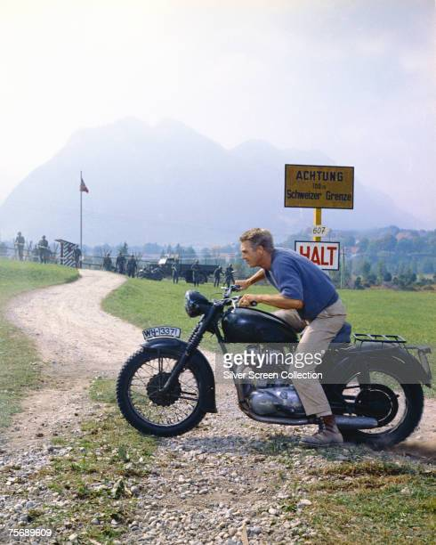 American actor Steve McQueen makes it to the GermanSwiss border in the World War II drama 'The Great Escape' 1963