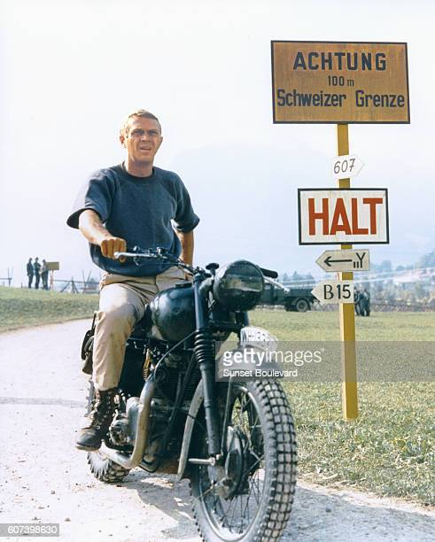 American actor Steve McQueen on the set of The Great Escape based on the book by Paul Brickhill and directed by John Sturges