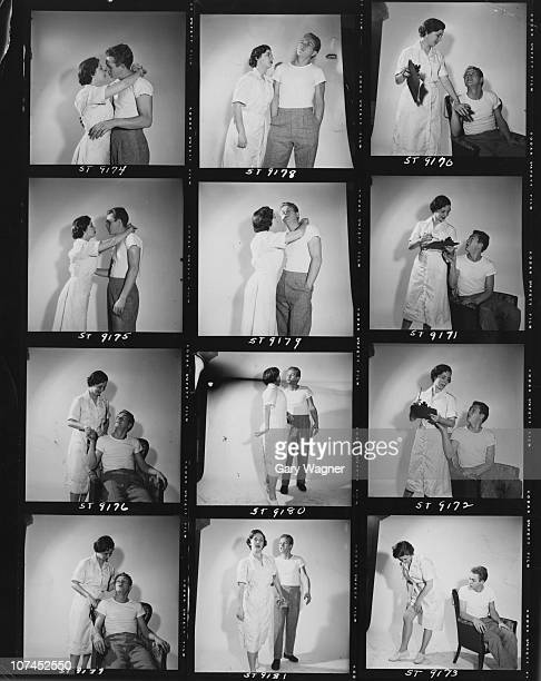 American actor Steve McQueen poses with an actress dressed as a nurse circa 1955