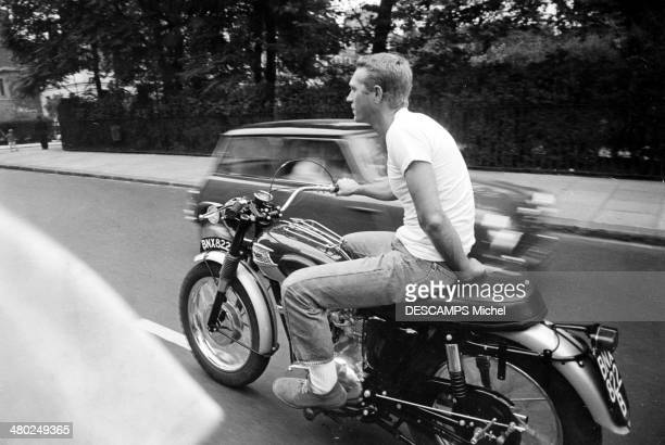 American actor Steve McQueen riding a Triumph TR6 Trophy motorcycle in London 11th September 1963