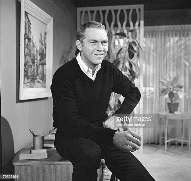 American actor Steve McQueen smiles during the filming of an episode of the television anthology series 'Alfred Hitchcock Presents' entitled 'Man...