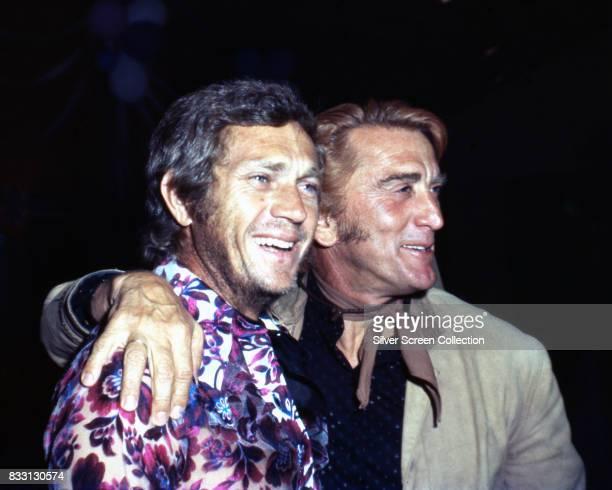 American actor Steve McQueen with american actor Kirk Douglas circa 1970