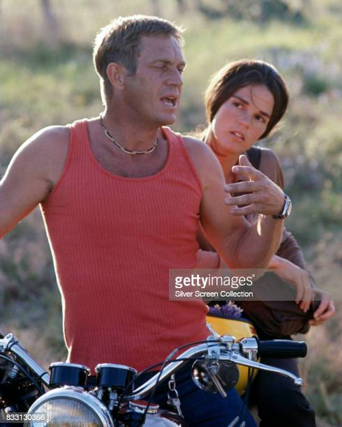 American actor Steve McQueen with his girlfriend actress Ali MacGraw circa 1972