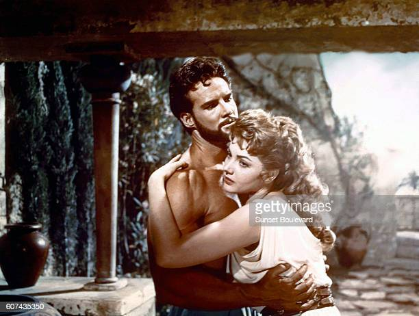 American actor Steve Reeves and Italian actress Sylva Koscina on the set of Ercole e la regina di Lidia written and directed by Pietro Francisci