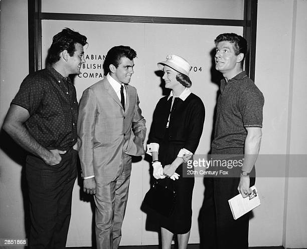American actor Stuart Whitman and American singer and actor Fabian the stars of the 1960 film 'HoundDog Man' directed by Don Siegel meet American...
