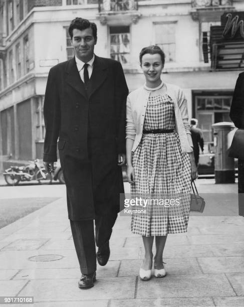 American actor Sydney Chaplin the son of filmmaker Charlie Chaplin visits actress Claire Bloom during a trip to London 24th May 1952 Bloom had...